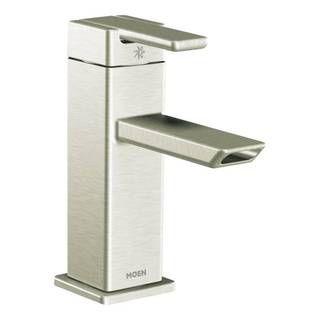 moen 90degree chrome grey onehandle low arc bathroom faucet chrome