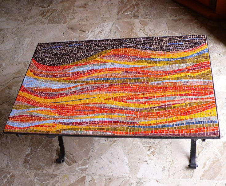 Marvelous Furniture For Outdoor Living Space With Mosaic Outdoor Table: Incredible Image Of Rectangular Abstract Accent Orange Mosaic Outdoor Table For Outdoor Dining Room Decoration Ideas ~ famousgoods.net Furniture Inspiration