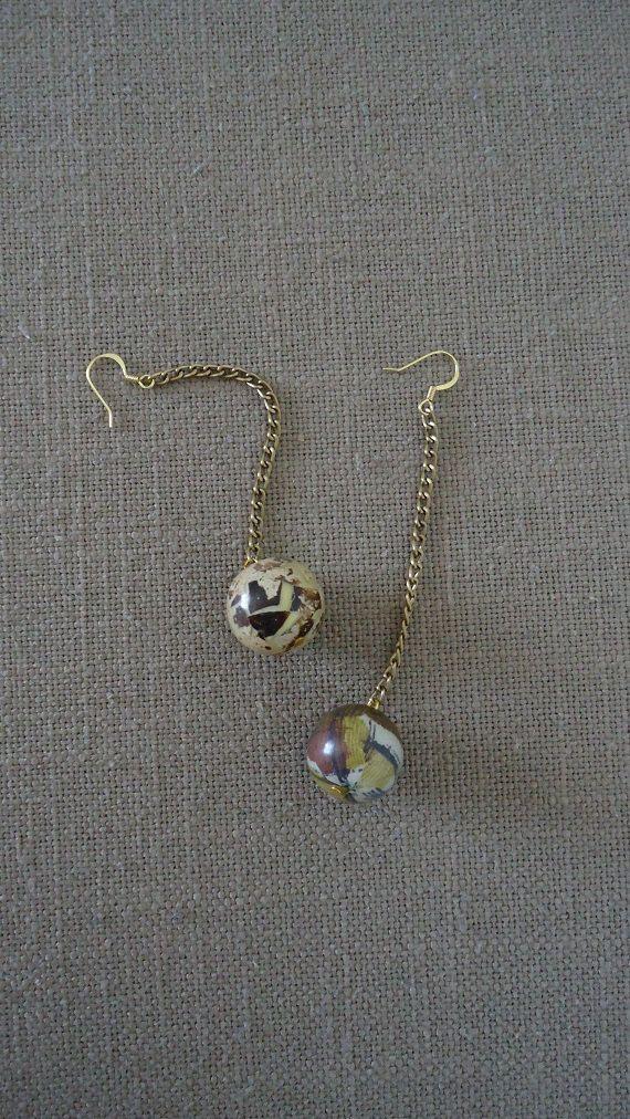 Round Beaded Earrings Drop Earrings Gold Plated by YellowByZoe