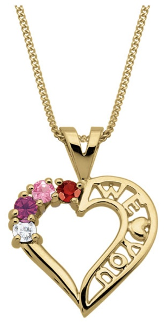 Show your love to Mom this Mother's Day and personalize this simple yet elegant Family Heart pendant with your family birthstones.