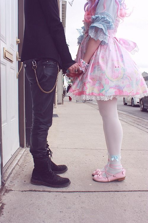 I wanna redraw this in reverse styles...like the boy in pastel punk style and girl in a gothic lolita dress.