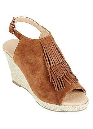 Suede Slingback Wedge Sandals #kaleidoscope #races