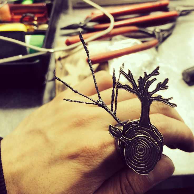 art jewelry, copper, tree, twig, ring