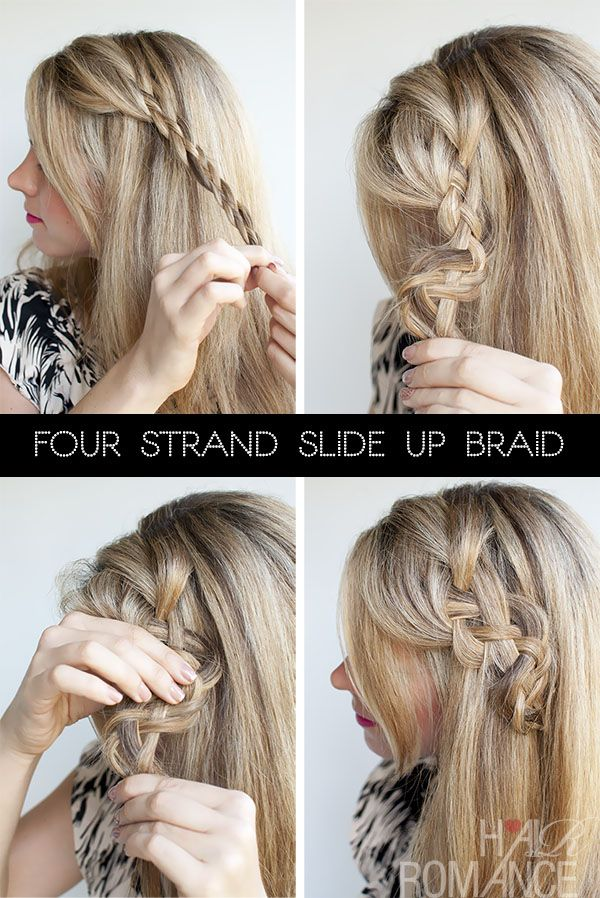 Hair Romance - 4 strand slide up braid tutorial - version 1 What a pretty idea to incorporate this into an updo for a wedding