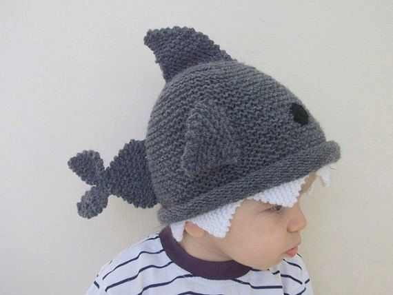 Shark hat -Knitting Baby  Hat  - for Baby or Toddler-Size 6-12 months-Dark gray baby hat-boy halloween costume on Etsy, $29.00