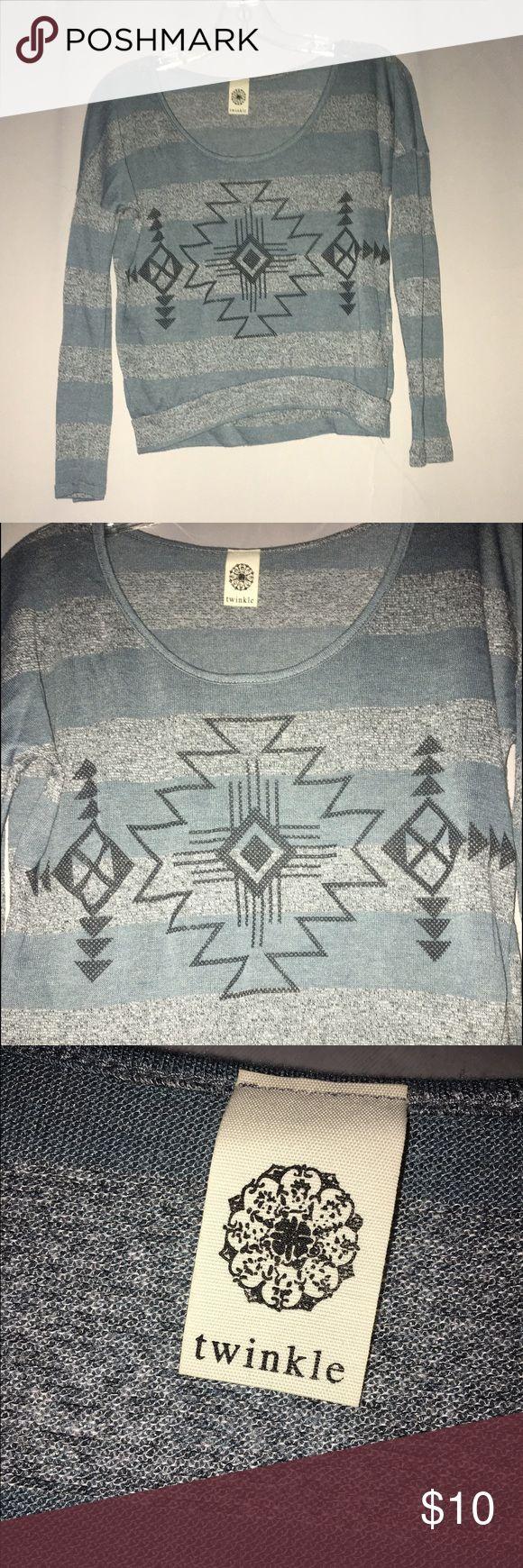 Aztec long-sleeve top Thin, tribal pattern crop top. Pair with leggings or high waisted jeans! Minor wear. Twinkle Tops Tees - Long Sleeve