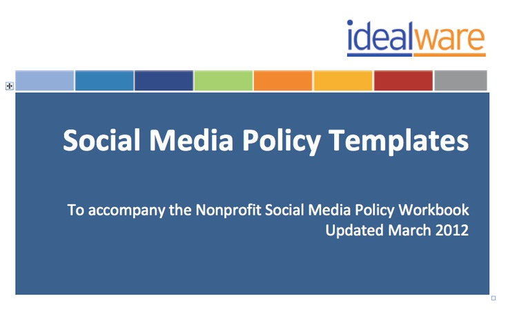 social media policy template and workbook by idealware httpwww