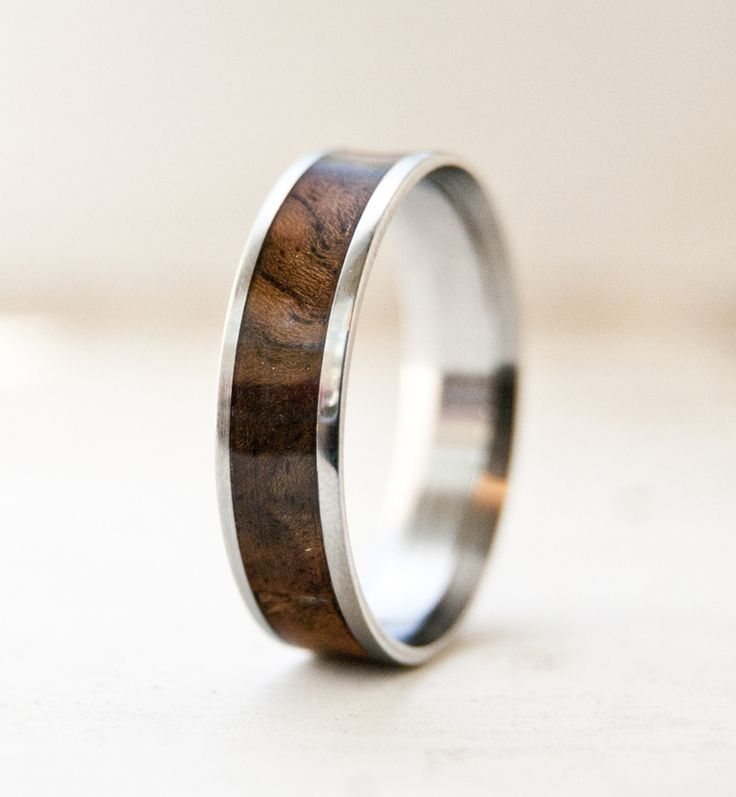 Wedding ring with wood inlay.