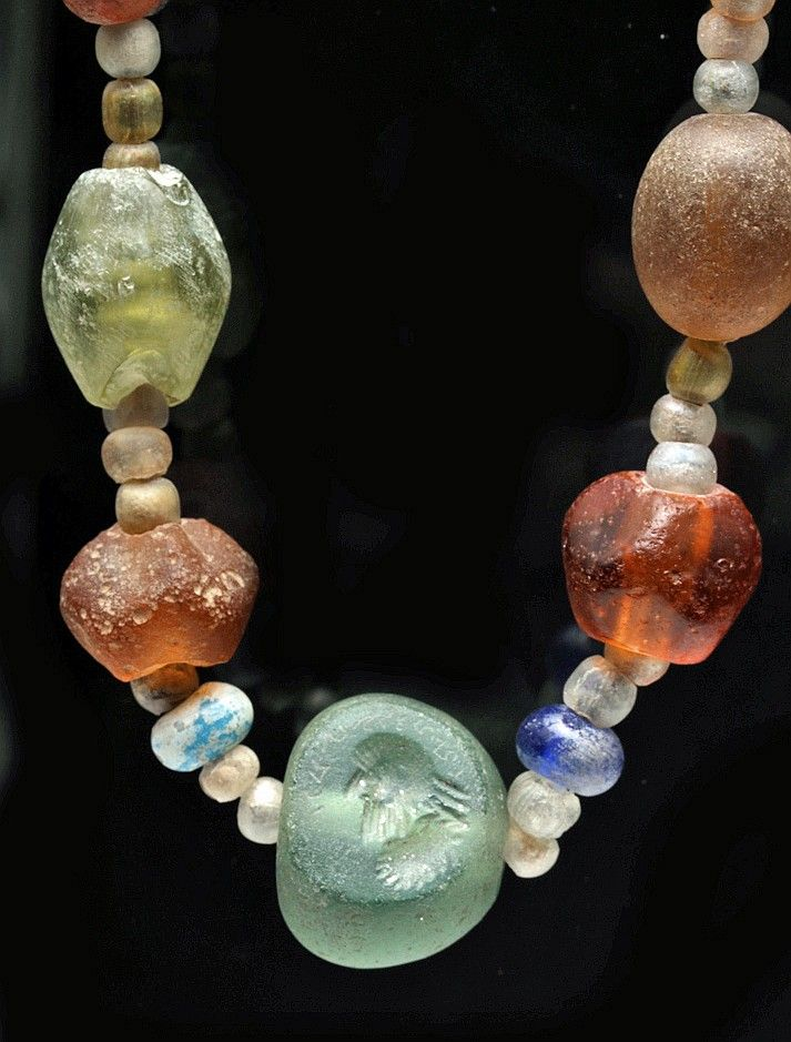 Roman Glass Intaglio and Stone Necklace  Found in Pakistan, dating from the 2nd century BC to 2nd century AD