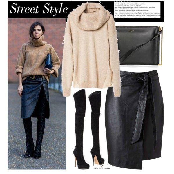 Sweater + Skirt by arethaman on Polyvore featuring Miss Selfridge, Lanvin, Arche, Chanel, leatherskirt, oversizesweater and otk
