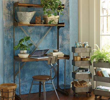 Live it Up with Loft Style at Cost Plus World Market >> #WorldMarket Wood & Metal Shelved Asher Desk