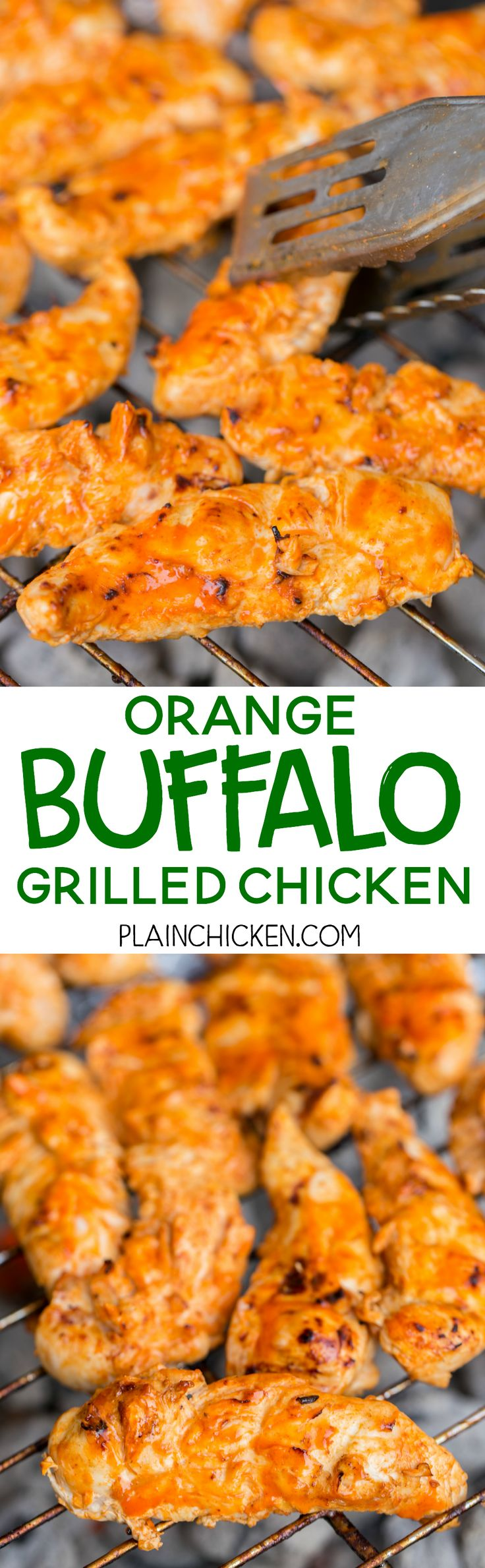 Orange Buffalo Grilled Chicken - chicken marinated in buffalo sauce and orange juice - grill, pan sear or bake for a quick weeknight meal. A little spicy, a little sweet and a whole lotta delicious! Ready to eat in 15 minutes!