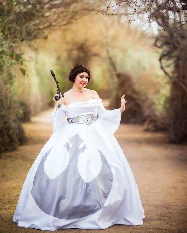 This Princess Leia Is Definitely A Rebel Star Wars Weddinggeek Weddingdisney Wedding Dressesdisney