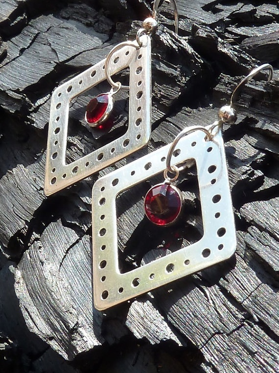 Diamondshaped sterling silver bubble earrings with by StudioAg47, $40.00
