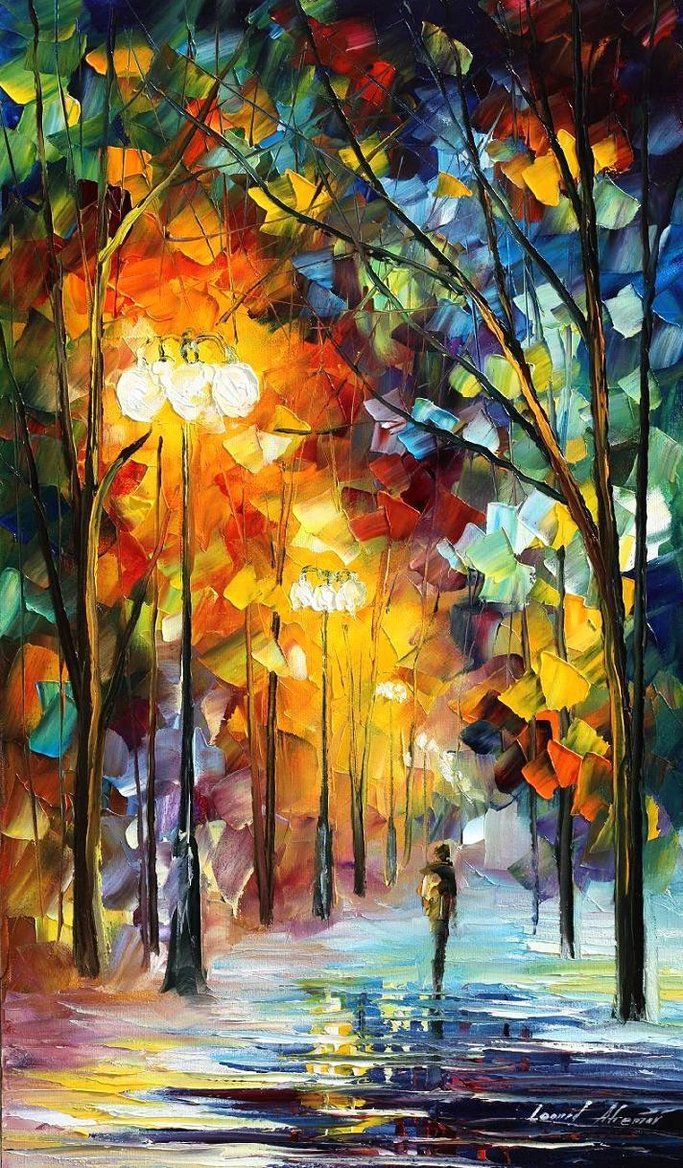 I am in awe of this painting by Leonid Afremov.  I can't stop staring at it.