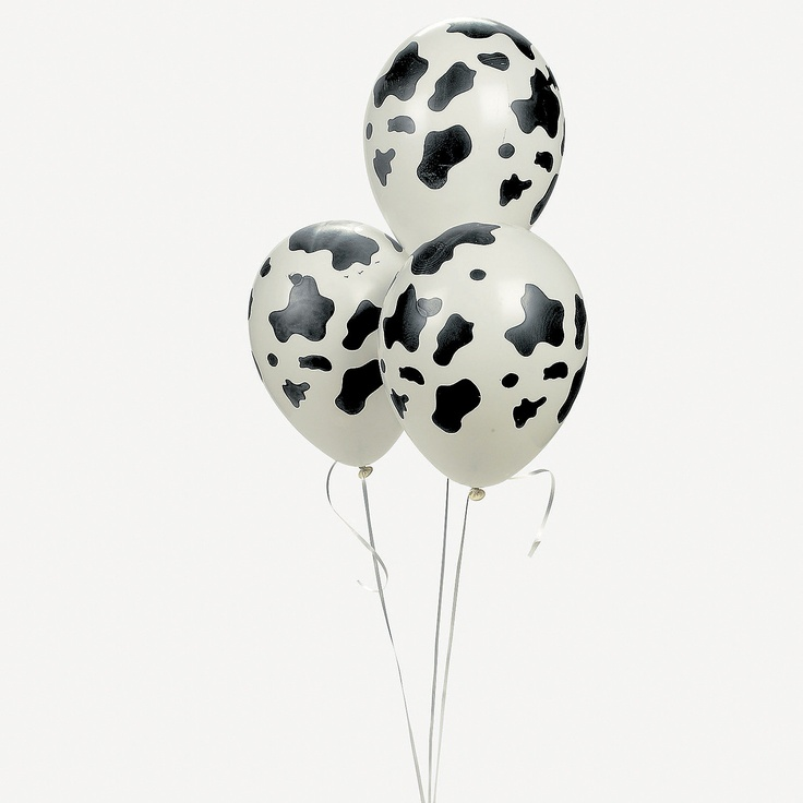"Cow Print Latex Balloons! Create country farm decorations with these black and white speckled balloons! Fun for a Western-themed party or square dance, these cow print balloons will add some ""moo"" to gift baskets, bouquets and more. Don't forget the helium! (25 pcs. per unit) 11"" © OTC"