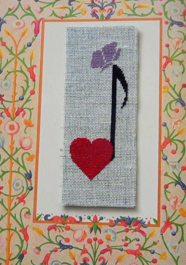 """Musical love"" - cross stitch bookmark"