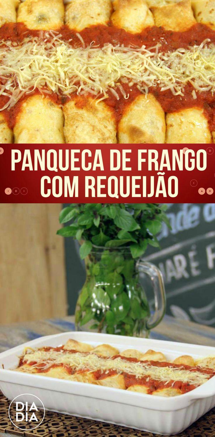 Receita deliciosa de Panqueca de Frango com Requeijão!  Como fazer uma receita simples de panqueca com requeijão