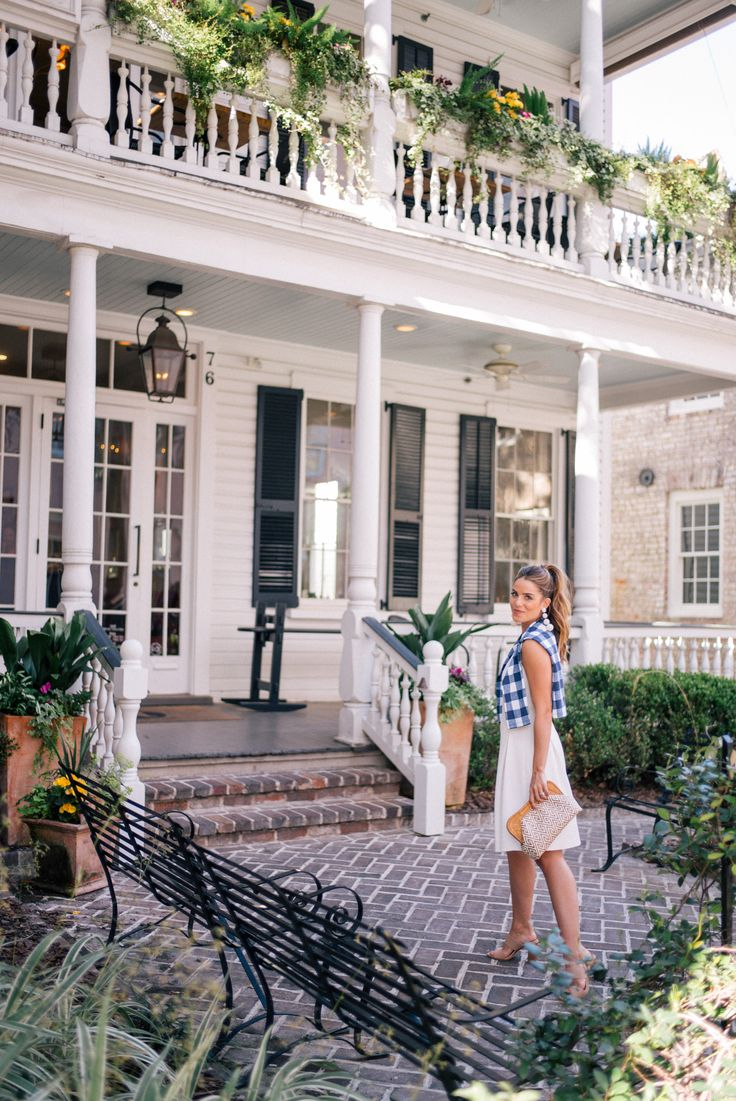 Gal Meets Glam Three Looks Around Charleston With J.McLaughlin - J.McLaughlin dress, sweater & clutch c/o, Joie heels & Rebecca de Ravenel earrings