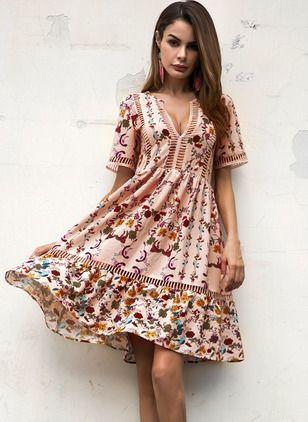 Vestidos Poliéster Floral Sobre las rodillas Manga corta (1048128) @ floryday.com