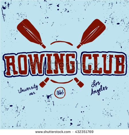 Rowing logo and paddle badges. Oar and shield, rowing and river sport. Vector illustration rowing illustration