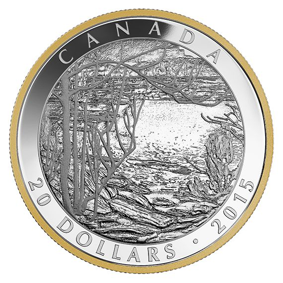 1 oz. Fine Silver Gold-Plated Coin – Tom Thomson: Spring Ice (1916) – Mintage: 8,500 (2015)