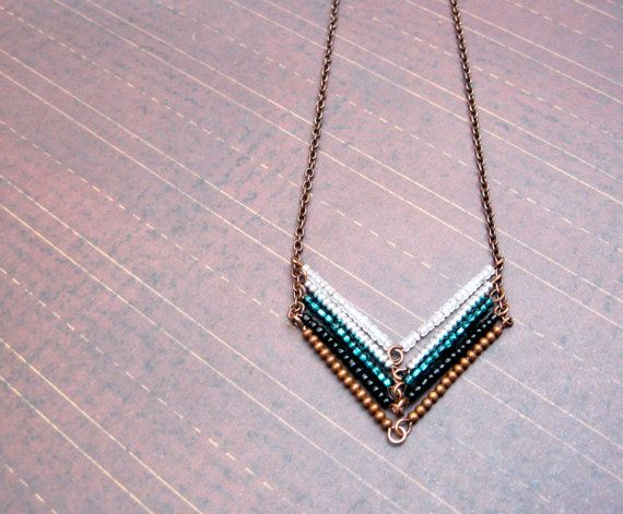 Leading to the Sea - Copper Chevron Necklace, Arrow Necklace.