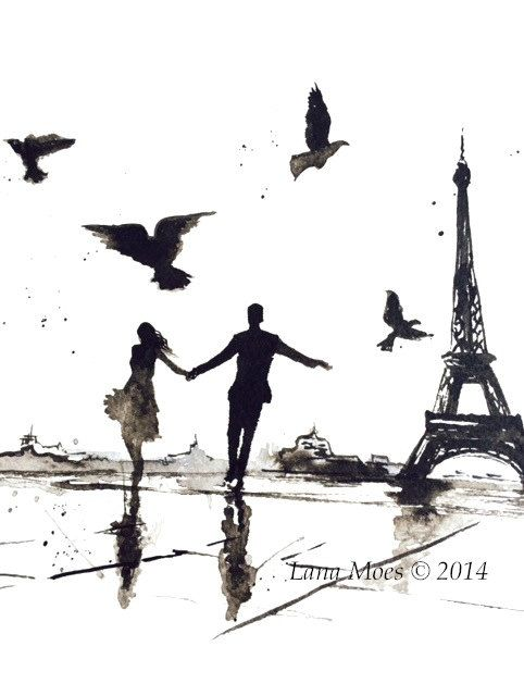 Paris Love Romance Art Print from Original Watercolor Painting - Watercolor Illustration by Lana Moes