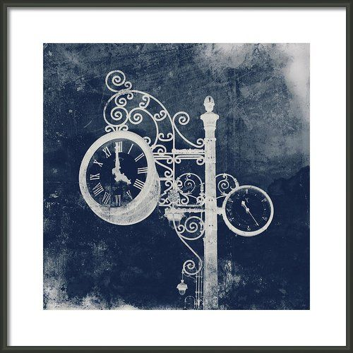 Ornate Vintage Clock In Blue Framed Print By Angela Bonilla Taken Of The