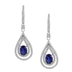 Silver cubic zirconia and synthetic blue sapphire drop earrings. EAR-SIL-0869