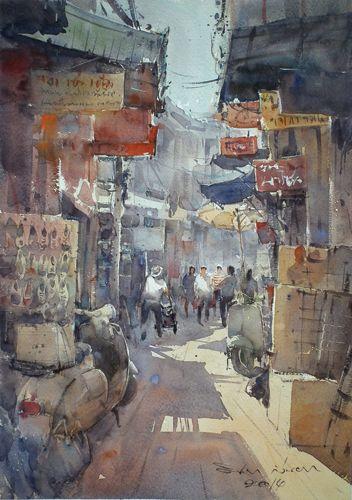 Sampeng Market 1 (watercolor on paper) by Direk Kingnok | watercolor landscapes
