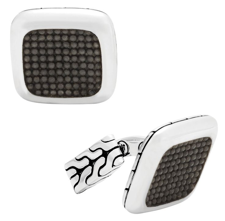 Men's Classic Chain Silver Jawan square cufflinks in silver with black rhodium; $495; John Hardy, NYC;