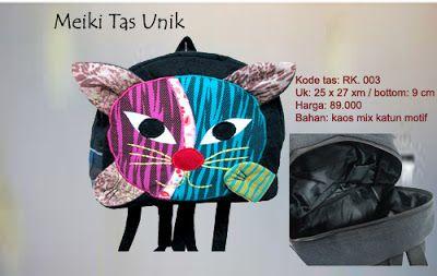 Backpack Unik & Etnik - RK. 003    Backpack  gambar kucing (meong ceria), sangat cocok unt ukuran anak2.    *Kami juga membuka peluang untuk Reeller  *Untuk info lebih lanjut, langung aja hubungi: 0812 9850 8811/0858 8537 8811 add pin 315BE3EC