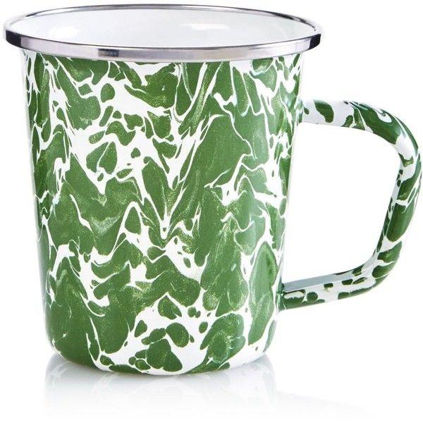Golden Rabbit Enamel Swirl Latte Mug featuring polyvore, home, kitchen & dining, drinkware, green, enamel mugs, green mugs, bunny rabbit mug, latte mugs and bunny mug