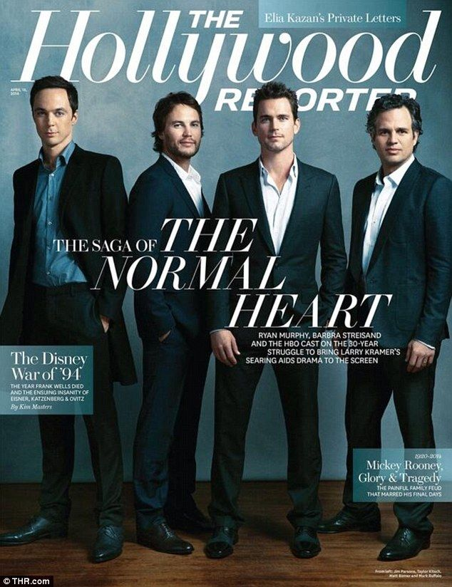 Cover boys:  Jim Parsons, Taylor Kitsch, Matt Bomer, and Mark Ruffalo - pictured from left to right - will be grazing the upcoming issue of The Hollywood Reporter magazine for upcoming film The Normal Heart