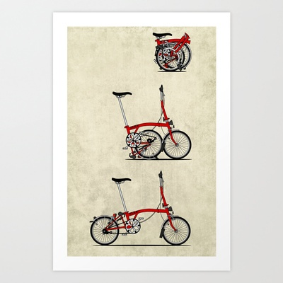 I Love My Folding Brompton Bike Art Print by Andy Scullion