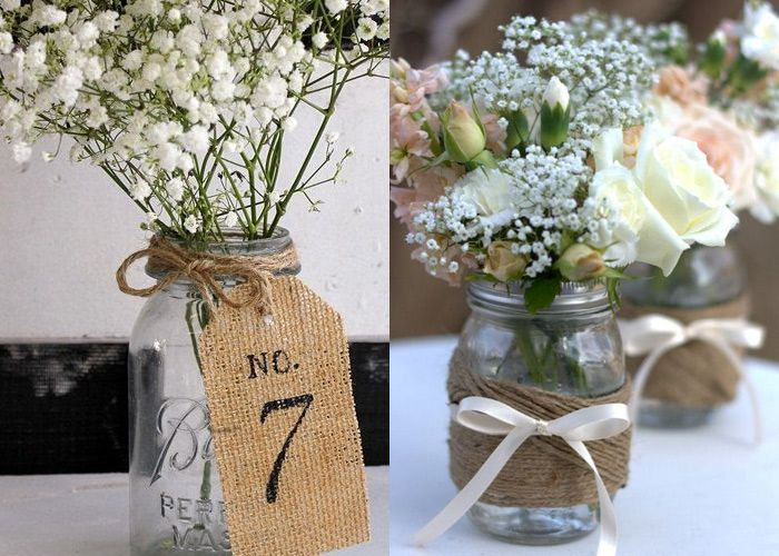 Faça você mesma - Decoração de casamento com potes e garrafas de vidro