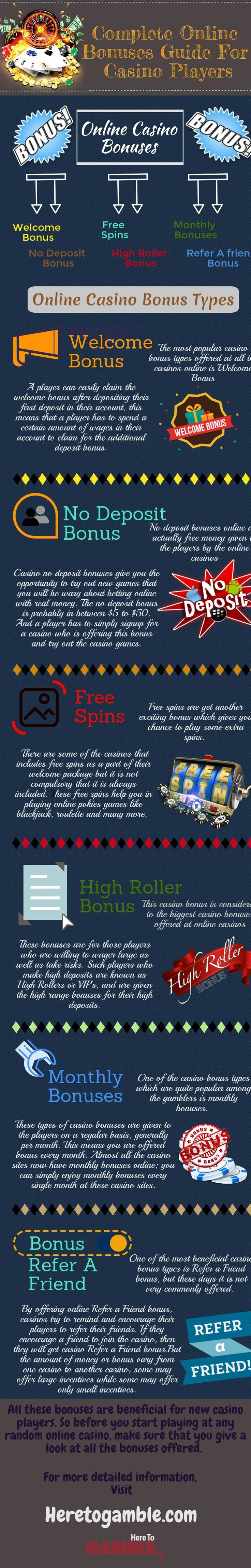 A #Guide to describe different variations of the #casino bonuses and promotions including #welcome #bonuses, no deposit, free #spins and many more. #Infographic