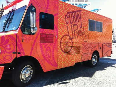 Curry Up Now food truck design by Nicole LaFave. http://food-trucks-for-sale.com/
