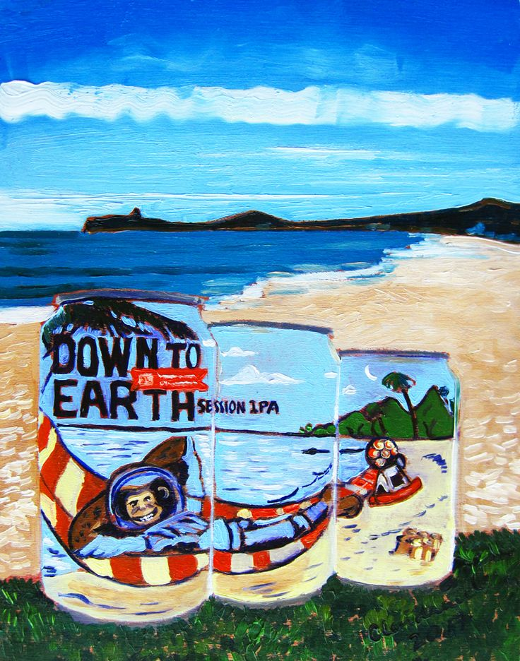 """Down to Earth Session IPA by 21st Amendment Brewery. Oil on panel, 8""""x10"""", by Scott Clendaniel. www.realartisbetter.etsy.com"""