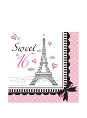Pink Paris Sweet 16 Lunch Napkins 16ct