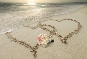 лето, природа, курорт, пляж, океан, небо, закат, песок, сердца, любовь, цветы, свет, солнца