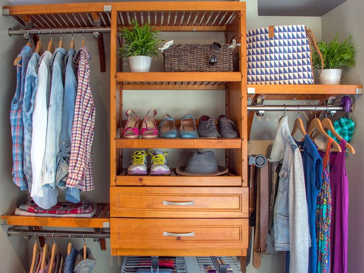 Good Beautiful Woodcrest Closet System In Caramel.