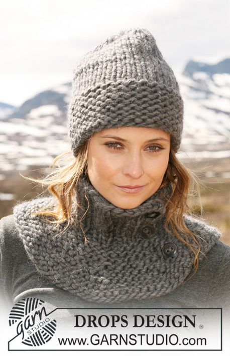 "Set comprises: Knitted DROPS hat and neck warmer in garter st in ""Polaris"". ~ DROPS Design"