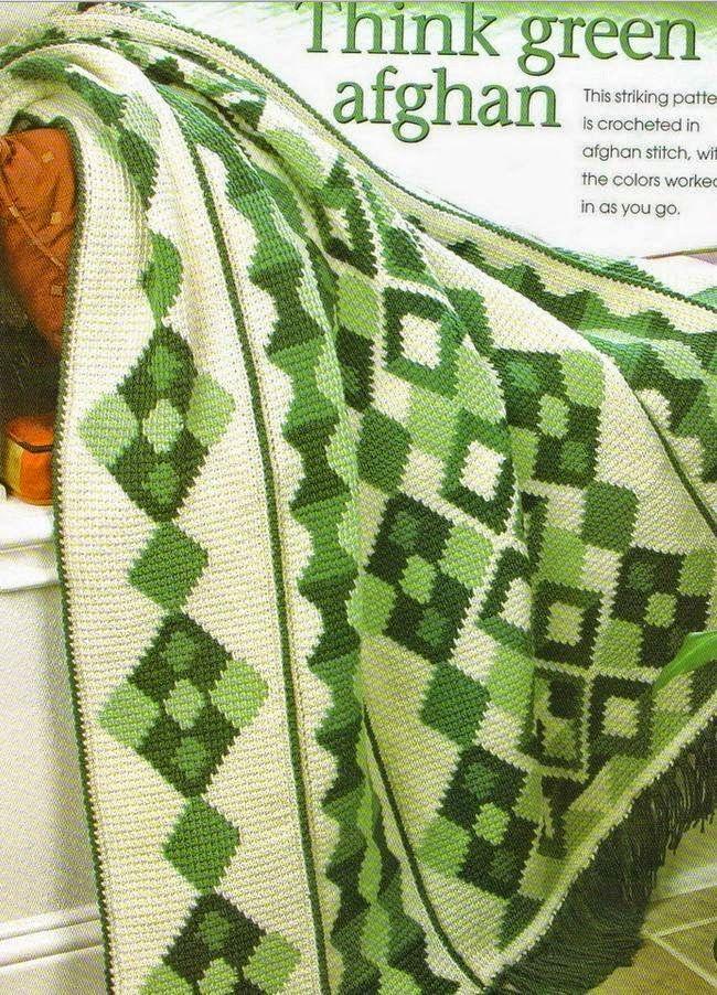 """Crochet y Dos agujas: Manta con diseño """"Afgano"""""""