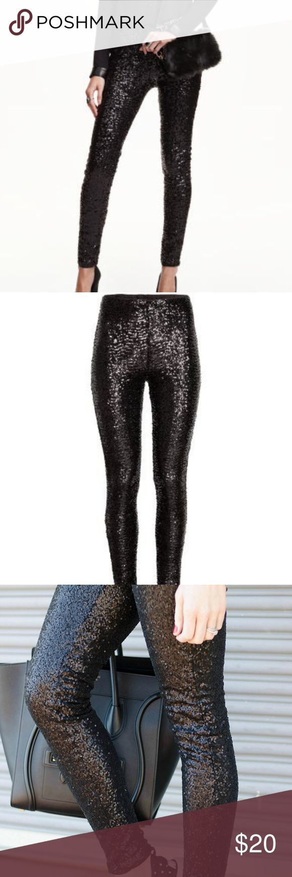 "Black Sequined Sequin Leggings Black sequined leggings.  Leggings in sequined mesh. High waist with concealed elastication. Jersey lining. Details  100% polyester. Machine wash cold   Size XS.  Waist laid flat measures approx. 12"" across. Un-stretched. Divided Pants Leggings"