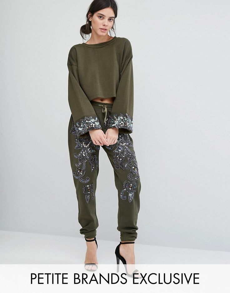 Buy it now. Starry Eyed Petite Heavily Embellished Paisley Detail Joggers - Green. Petite trousers by Starry Eyed Petite, Soft-touch sweat fabric, Drawstring waist, Sequin and beaded paisley embellishment, Side pockets, Fitted cuffs, Tapered fit - cut loosely around the thigh and tapered from the knee to the ankle, Dry clean, 100% Polyester, Our model wears a UK 8/EU 36/US 4, Exclusive to ASOS. ABOUT STARRY EYED PETITE Giving classic comfort-dressing a glamorous twist, Starry Eyed perfects…