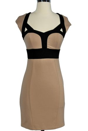 This chic, fitted bodycon dress is similar to a 765 dollar, designer Carven dress recently worn by Beyonce Knowles (photos below). Get the look for less! The Beyonce Inspired Bodycon Pencil Dress comes in two great colors. It is crafted of a figure-hugging fabric and has a lined and lightly padded bust for support. Princess seams create a beautiful shape you'll love. Black colorblock trim around the bust and at the neckline creates contrast and cute fabric cutouts at the neckline add…