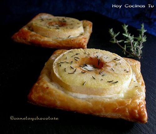 Hojaldre de manzana y queso de cabra