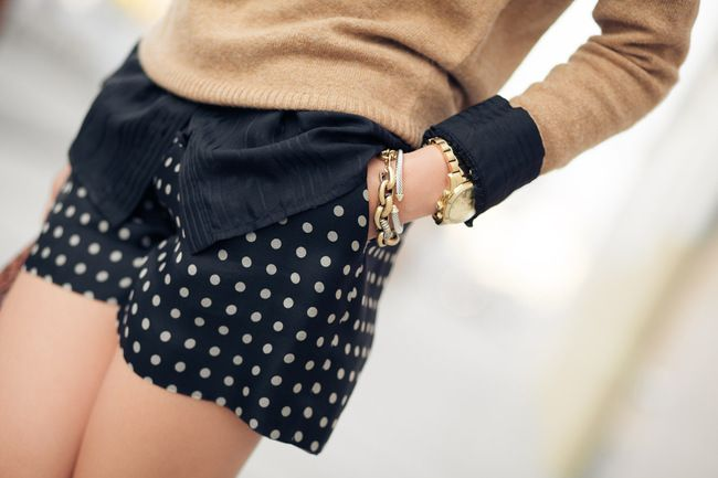 From Wendy's Lookbook blog:  Shorts :: J.Crew  Accessories :: Michael Kors watch,  David Yurman and J.Crew bracelets.